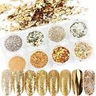 Nail Glitter Flakes 8 Boxes Gold Art Supplies Kit Sequins Acrylic Nail Powder