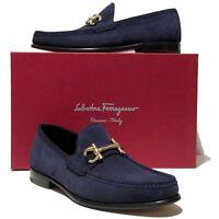 Ferragamo MASON Blue Suede Gancini Bit Dress Loafers Mens Casual Moccasin Master