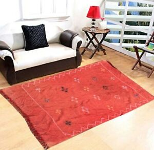 Authentic Hand Woven Morrocan Silk Kilim, Sabra Kilim Area Rug 3x4 Ft Freeship