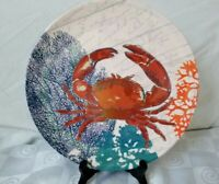 """11"""" Melamine Dinner Plates with Red Crab in Blue Coral Set of 5"""