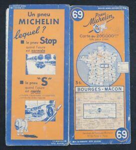 Carte MICHELIN 69 BOURGES MACON 1936 Guide Bibendum pneu tyre map