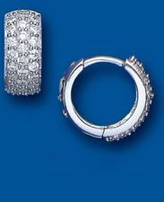 Men's Hallmarked Sterling Silver Gem Set Huggie Earring 14mm x 7mm British Made