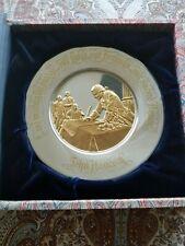 Franklin Mint Sterling Silver 24Kt Gold Bicentennial Plate 8.53 Oz John Hancock