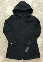Womens Weatherproof Hooded Full Zip Soft Shell Coat Black Size Small S Jacket