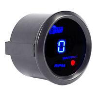 "Car Universal 2"" 52mm Black Shell Digital Blue LED Tacho Gauge RPM"