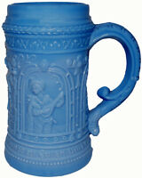 """1910s Westmoreland Glass Lt Blue Marble Knight 4.5""""t Mug Stein Mustard Container"""