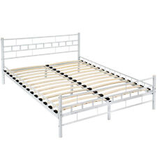 Cama de metal con somier matrimonial doble dormitorio estructura 140x200cm blanc