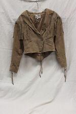 G3 G III Beige Leather VINTAGE Tassle Short Coat Womens size Small GUC w013
