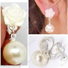 CLIP ON mop shell ROSE ivory PEARL CREAM DROP EARRINGS screw hinge silver plated