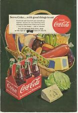 1951 Coca-Cola Ad - six-pack of coke with a basket of food - Vintage Magazine Ad