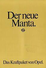 Opel Manta Prospekt 1982 5/82 Autoprospekt Broschüre brochure prospectus catalog