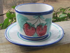 Vietri~Buon Giorno~Strawberries~Cup and Saucer~Italy~Hand Painted