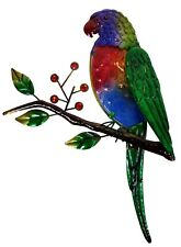Lorikeet on Tree Branch Metal Glass Hanging Wall Art Bird Garden Sculpture 36 cm
