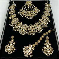 Kyles Pearls Gold Indian Jewellery Set With Necklace Earrings Tikka Jhummar