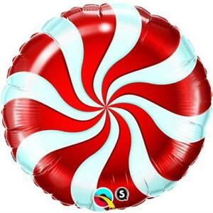 "Red Christmas Candy Swirl Lollipop Theme 9"" Foil Balloons on Sticks x 5"