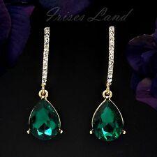 Cute 18K Gold Plated GP Green Crystal Bridesmaids Drop Dangle Earrings 648 Party