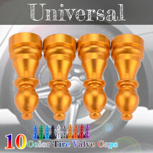 Auto Car Tire Tyre Gold Wheel Air Port Dust Cover Trim Valve Stem Caps Alloy