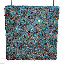 New Handbag Purse, Bamboo Trading Co, Teal Beaded Gemstones Rhinestones Beads