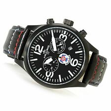 NEW Air Blue (Deep Blue) Thunderbirds Chrono Sapphire Crystal Leather Band Watch