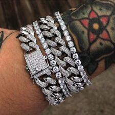 "Miami Cuban Bracelet Mens 14K White Gold 8"" Pave Round Cut"