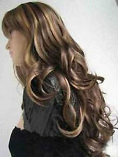 HESW53  vogue style Long brown mix hair curly wigs for modern women wig