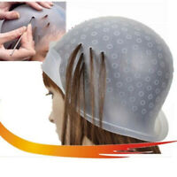 Reusable Silicone Dye Hat Cap For Hair Color Highlighting Hairdressing W/Hook