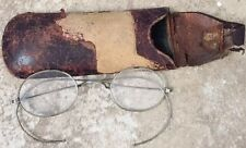 Antique Wire Rim Round Rx Spectacles w/Vintage Case.Old.Flexible Eye Glasses