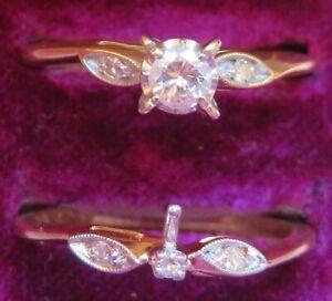 14K VINTAGE NATURAL VS DIAMOND SOLITAIRE ENGAGEMENT RING SET STAMPED PRINCESS