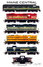 "Maine Central Locomotives 11""x17"" Railroad Poster by Andy Fletcher signed"