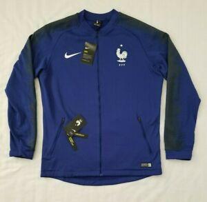 Mens Size Large Blue Nike Dry France Anthem Soccer Fleece Jacket 893590-455