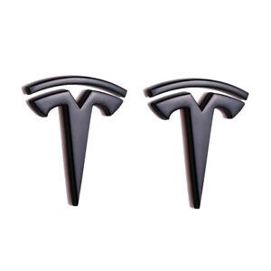 2x Matte Black Tesla Logo Car L&R Fender Emblem Badge for Model 3 S X Y Roadster