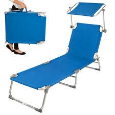 Alu chaise longue de jardin pliante transat bain de soleil + pare soleil bleu