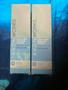 2 X  AVON WORKS Body Hair Removal Cream Aloe Vera SENSITIVE SKIN 100mlS EACH