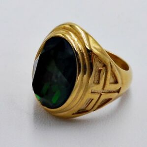 MEN RING EMERALD STAINLESS STEEL YELLOW GOLD CHRISTIAN CROSS SOLITAIRE SIZE 11 y