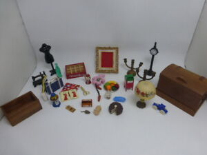 Cutest Lot of Vintage Dollhouse Miniatures Lamp Cigar Box Chest Sewing Mousetrap