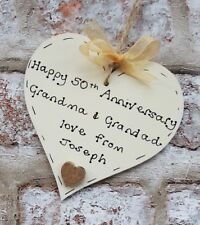 personalised golden 50th wedding anniversary wooden heart gift for grandparents