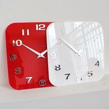 Roco Verre Acrílico Brillo Moderno Reloj Pared Retro Rojo Blanco Negro Plata Dos