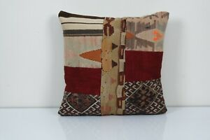 """20"""" x 20"""" Handmade Patchwork Kilim Pillow, Traditional Pillow cover"""