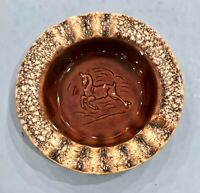 Vintage Hull Brown Drip Glaze Wild Stag Deer Wide Rim Cigar Ashtray USA
