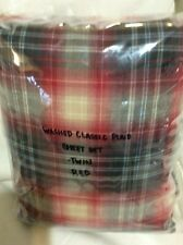 Restoration Hardware Baby & Child Washed Classic Plaid Twin Sheet Set Red New