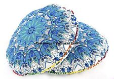 2 PC Cotton Floor Pillow Cover Indian Feather Mandala Round Ottoman Big Seating