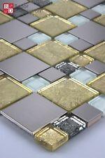 Glasmosaik Mosaikfliesen Mosaike Mosaik Glas Edelstahl 15x15cm Silber Gold Weiß