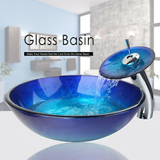 FA Blue Tempered Glass Bathroom Round Vessel Sink Set Basin Bowl W/Chrome Faucet