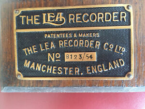 """Original old industrial Cast Brass Sign """"The Lea Recorder Manchester """""""