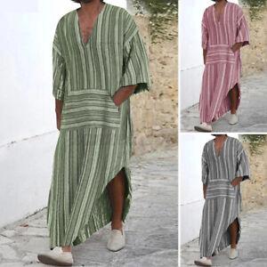 Herren Jubba 100% Baumwolle Kaftan Thobe Arabische Robe Islamische Saudi T-Shirt