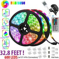 LED Strip Light 32.8FT 5050 SMD RGB 600LED Remote Fairy Lights  12V Power Kit US