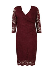 Evans Grace Berry Red Lace Ruched Midi Dress - BNWT - Plus Size 28