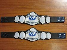 2 NWA Tag Team Championship custom Leather belts wrestling figures WWE WWF WCW