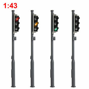 4pcs O Scale Model Signal Red/Yellow/Green 1:43 Block Signal Traffic Lights