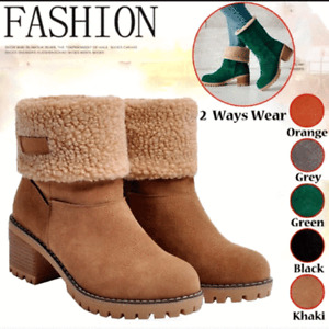 Winter Womens Suede Snow Boots Thicken Round Toe Casual Ankle Shoes New